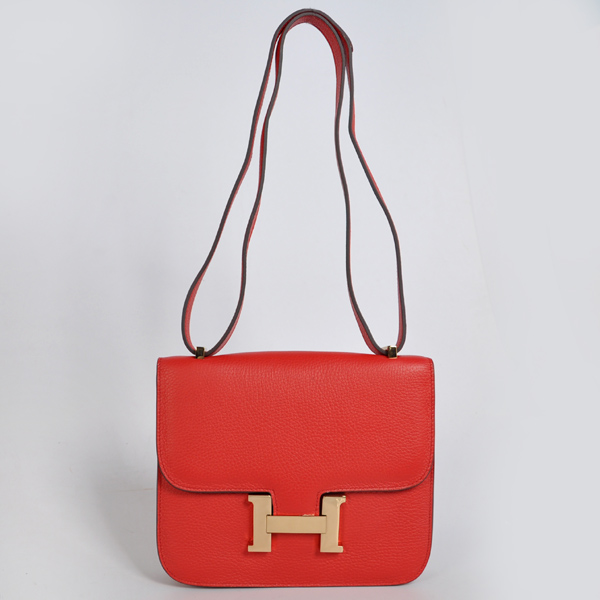 8888FG Hermes Constance Bag clemence leather in Flame with Gold hardware