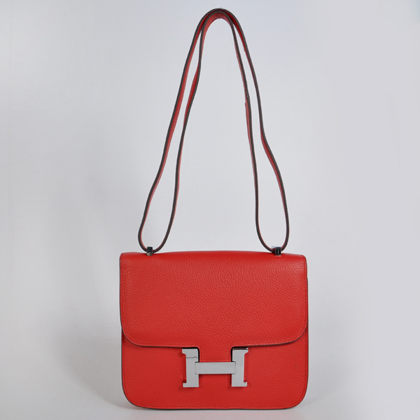 8888FS Hermes Constance Bag clemence leather in Flame with Silver hardware