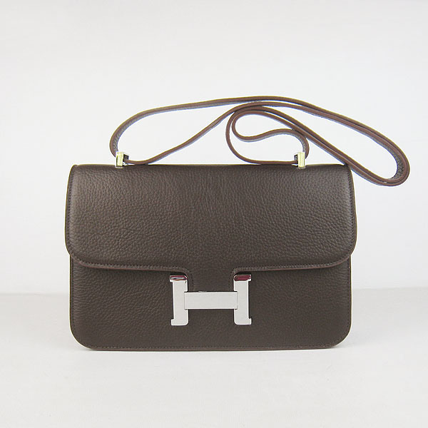 H020 Hermes Constance Togo Leather Single Bag Dark Coffee Silver Hardware H020