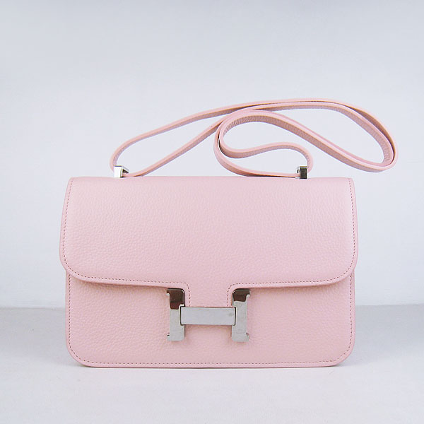 H020 Hermes Constance Togo Leather Single Bag Pink Silver Hardware H020