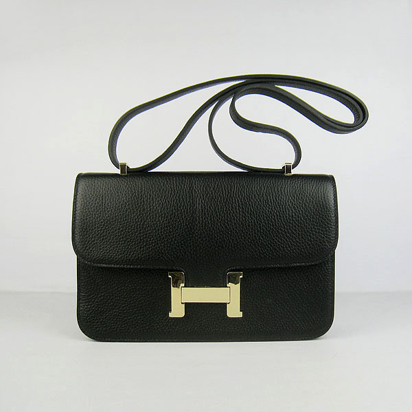 H020 Hermes Constance Togo Leather Single Bag Black Gold Hardware H020