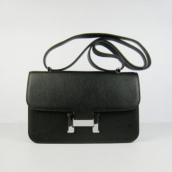 H020 Hermes Constance Togo Leather Single Bag Black Silver Hardware H020