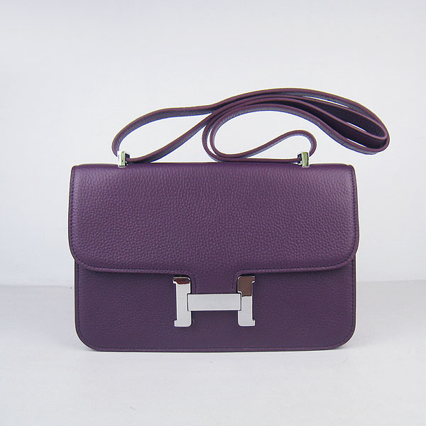H020 Hermes Constance Togo Leather Single Bag Purple Silver Hardware H020