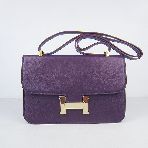 H020 Hermes Constance Togo Leather Single Bag Purple Gold Hardware H020