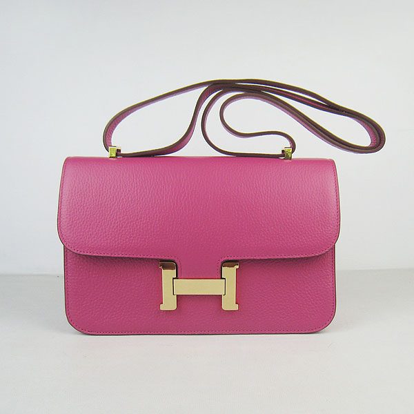 H020 Hermes Constance Togo Leather Single Bag Peach Gold Hardware H020