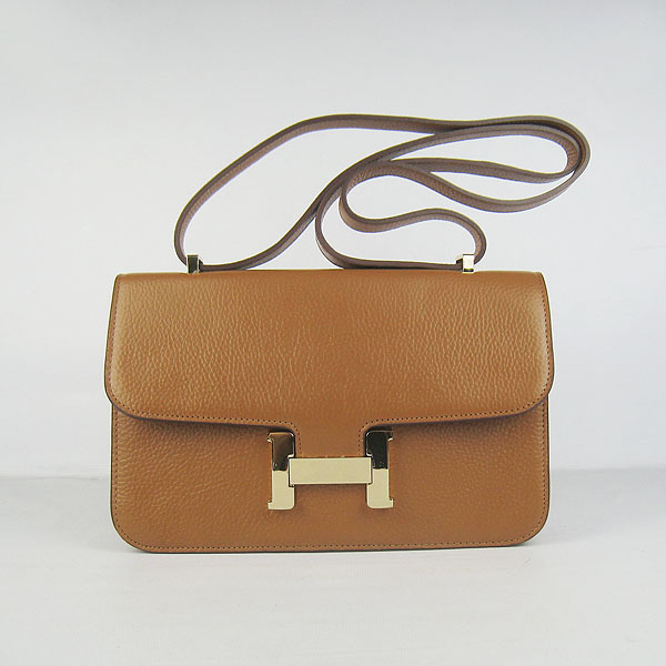 H020 Hermes Constance Togo Leather Single Bag Light Coffee Gold Hardware H020