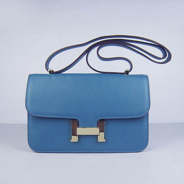 H020 Hermes Constance Togo Leather Single Bag Blue Gold Hardware H020