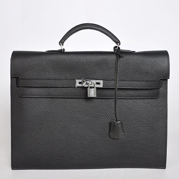 168BB Hermes Kelly Briefcase Bag clemence leather in Black