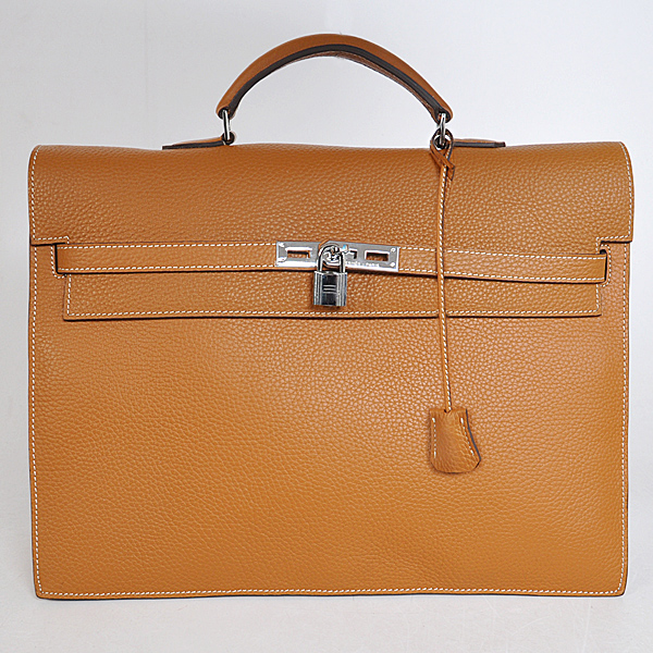 168CB Hermes Kelly Briefcase Bag clemence leather in Camel