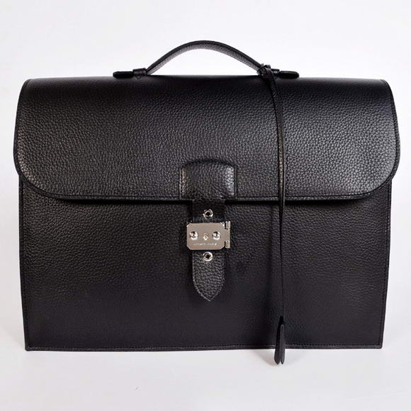 H668 Hermes Sac Depeche 38cm Briefcase Clemence Black