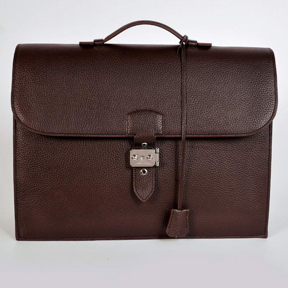 H668 Hermes Sac Depeche 38cm Briefcase Clemence Brown