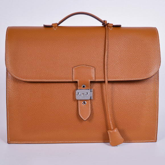 H668 Hermes Sac Depeche 38cm Briefcase Clemence Camel