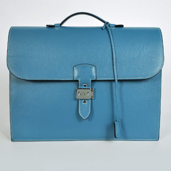 H668 Hermes Sac Depeche 38cm Briefcase Clemence Blue