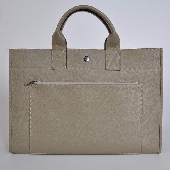 H100 Hermes Briefcase 40CM Bag Clemence Leather Grey