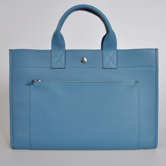 H100 Hermes Briefcase 40CM Bag Clemence Leather Blue