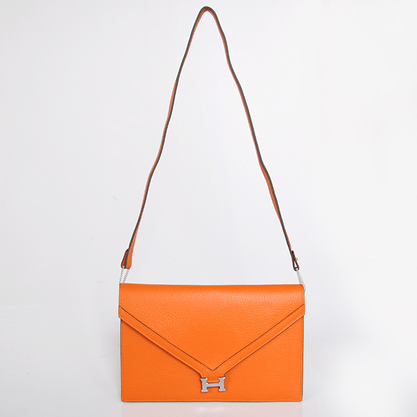 1038 Hermes Liddy Bag clemence leather in Orange with Silver hardware