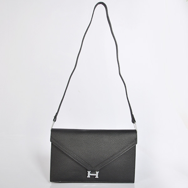 1038 Hermes Liddy Bag clemence leather in Black with Silver hardware