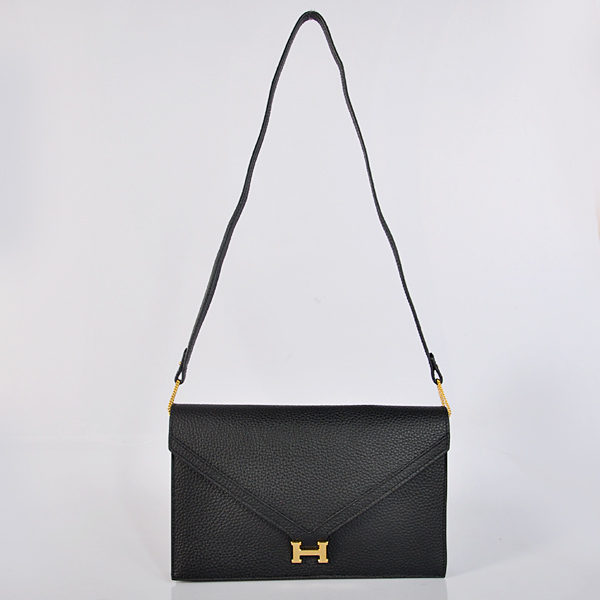 1038 Hermes Liddy Bag clemence leather in Black with Gold hardware