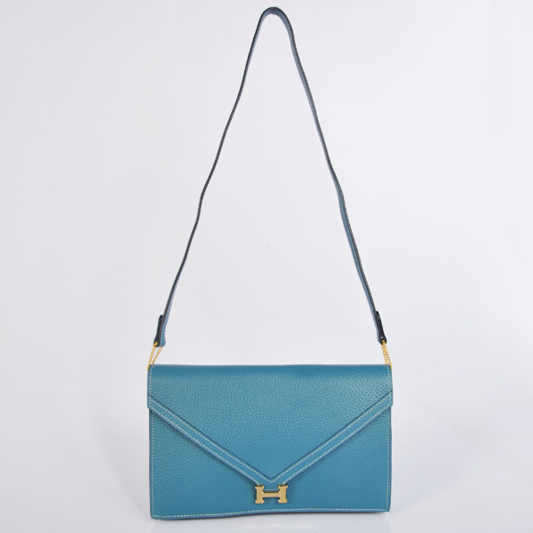 1038 Hermes Liddy Bag clemence leather in Medium Blue with Gold hardware