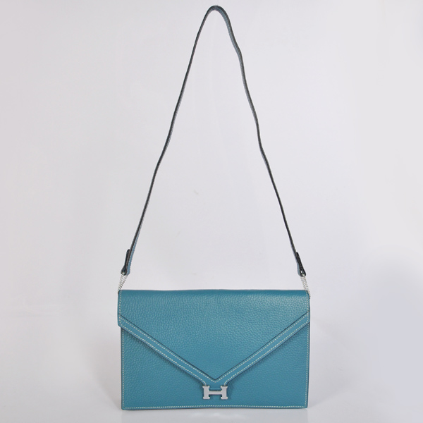 1038 Hermes Liddy Bag clemence leather in Medium Blue with Silver hardware