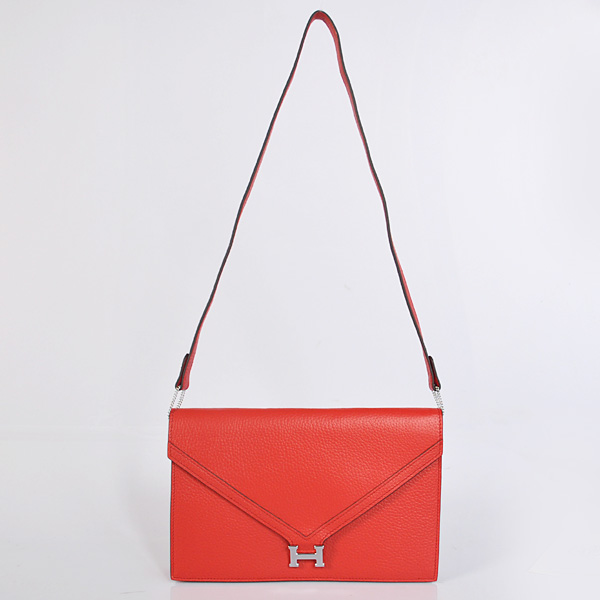 1038 Hermes Liddy Bag clemence leather in Flame with Silver hardware