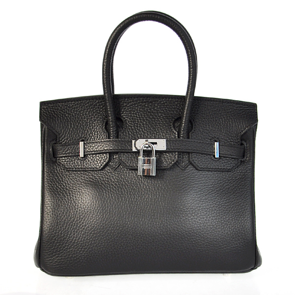 H25LSBS Hermes Birkin 25CM clemence leather in Black with Silver hardware