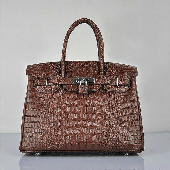 H6088 Hermes Birkin 30CM Tote Bag Croco Brown Leather H6088 Silver