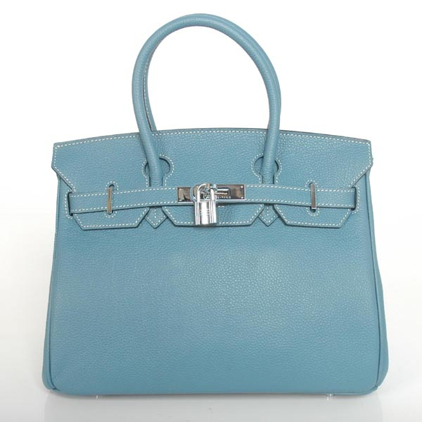 H30BJMBS Hermes Birkin togo leather 30CM togo in Medium Blue with Silver hardware