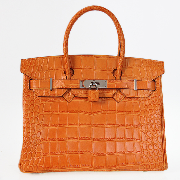 H30CSOS Hermes Birkin 30CM Crocodile stripes leather in Orange with Silver hardware