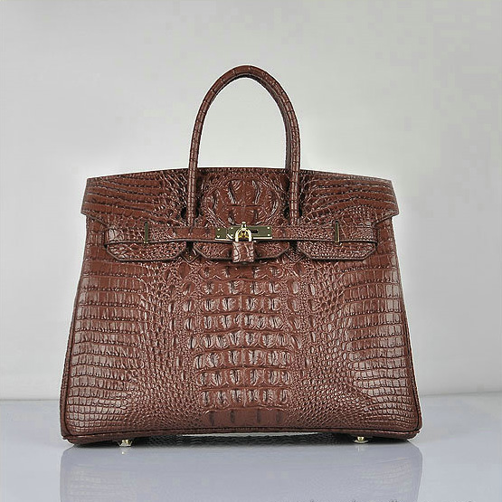 H6089 Hermes Birkin 35CM Tote Bag Croco Brown Leather H6089 Gold