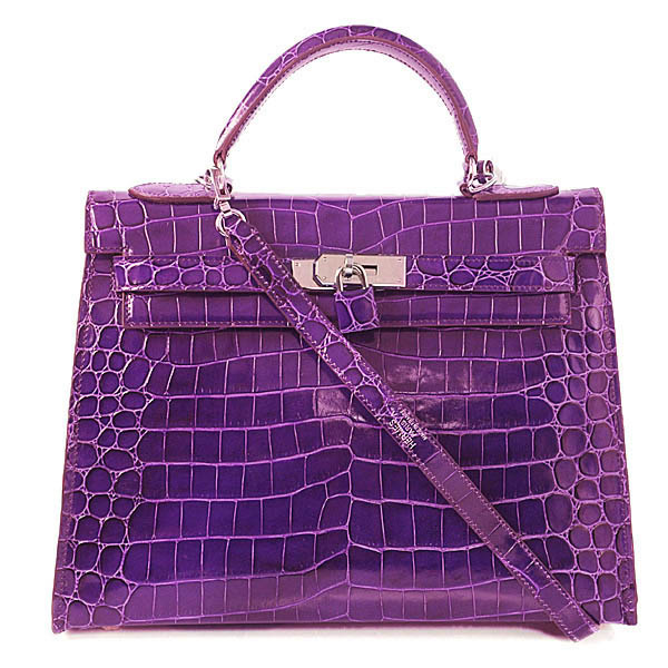 H35 Hermes Birkin 35CM Crocodile leather in Light Purple with Silver hardware
