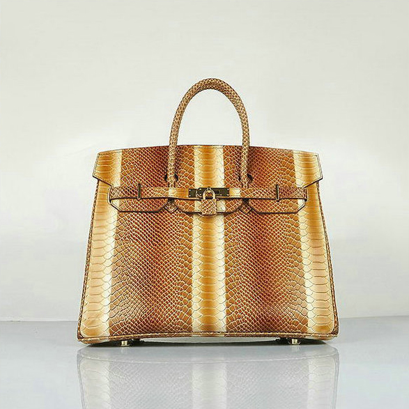 H6089 Hermes Birkin 35CM Light Coffee Snake Leather Tote Bag Gold