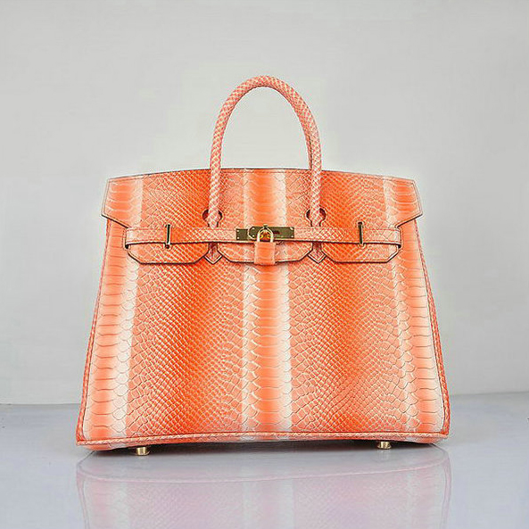 H6089 Hermes Birkin 35CM Orange Snake Leather Tote Bag Gold