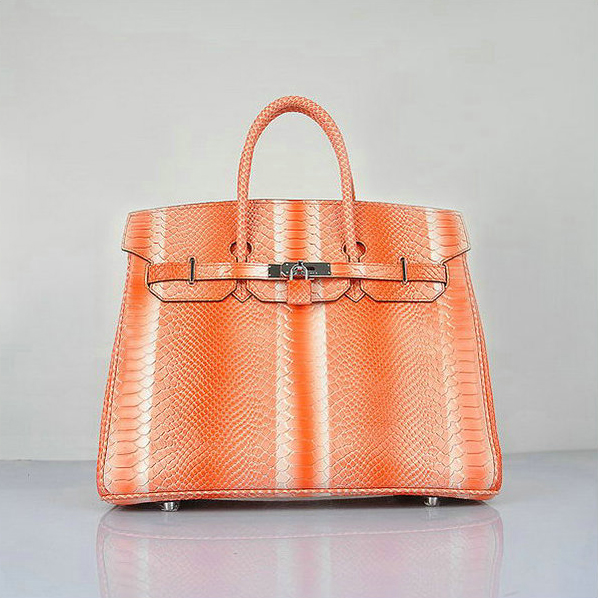 H6089 Hermes Birkin 35CM Orange Snake Leather Tote Bag Silver