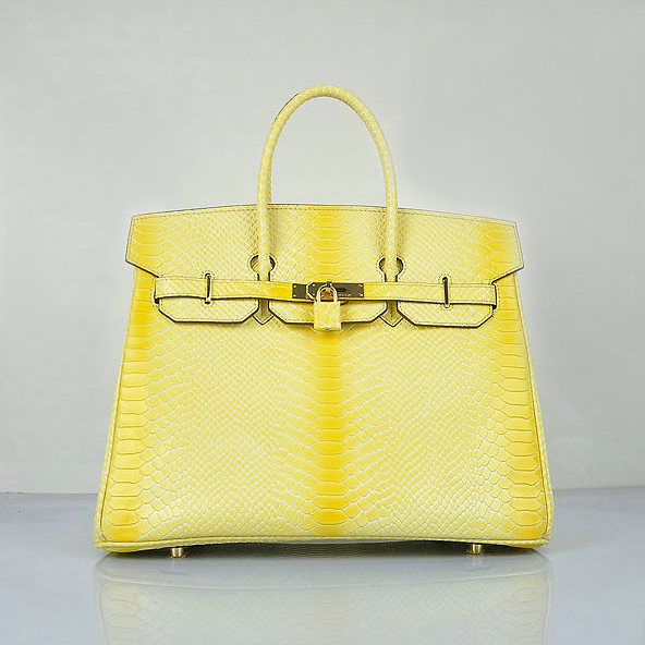 H6089 Hermes Birkin 35CM Lemon Snake Leather Tote Bag Gold