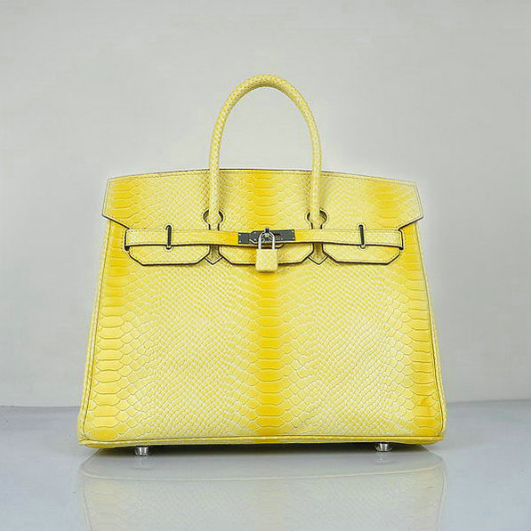 H6089 Hermes Birkin 35CM Lemon Snake Leather Tote Bag Silver
