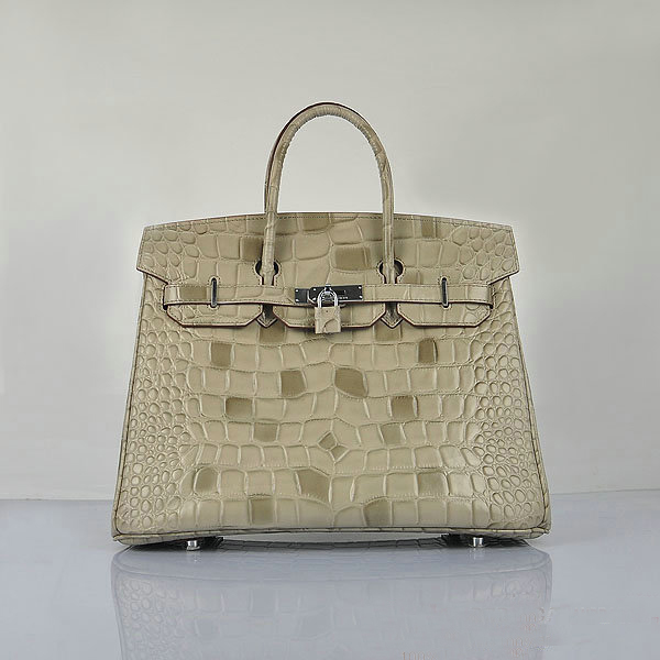 H6089 Hermes Birkin 35CM Tote Bag Croco Leather H6089 Grey