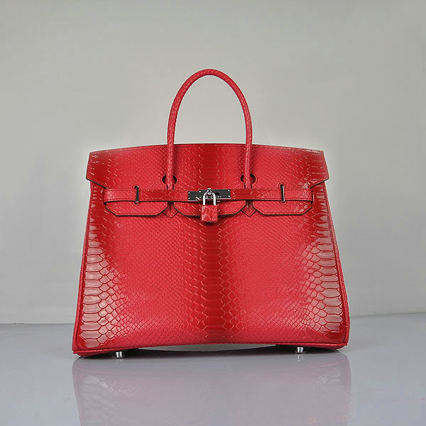 H6089 Hermes Birkin 35CM Red Snake Leather Tote Bag Silver