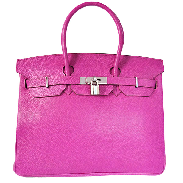 H35CPS Hermes Birkin 35CM clemence leather in Purpurin with Silver hardware