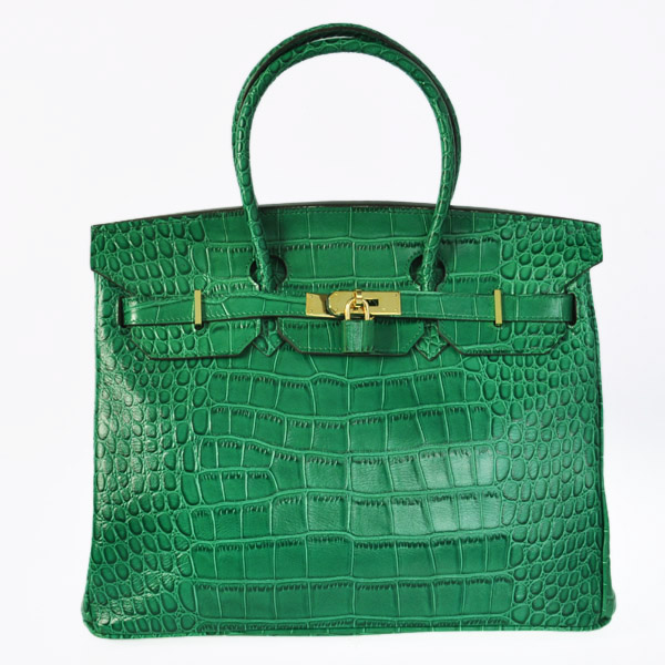 H35CGG Hermes Birkin 35CM Crocodile leather in Green with Gold hardware