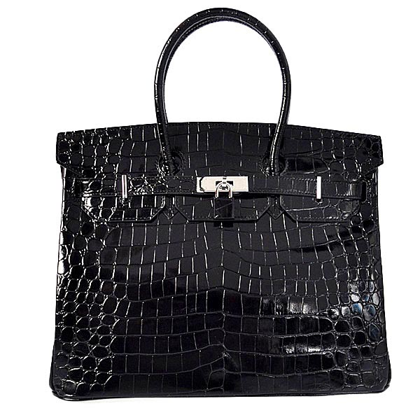H35HLCBS Hermes Birkin 35CM high light Crocodile leather in Black with Silver hardware