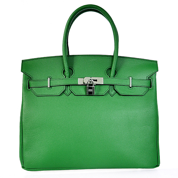 H35PSDGS Hermes Birkin 35CM Palm stripes leather in Dark green with Silver hardware