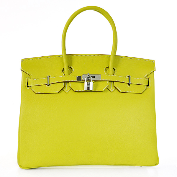 H35PSLYS Hermes Birkin 35CM Palm stripes leather in Lemon Yellow with Silver hardware