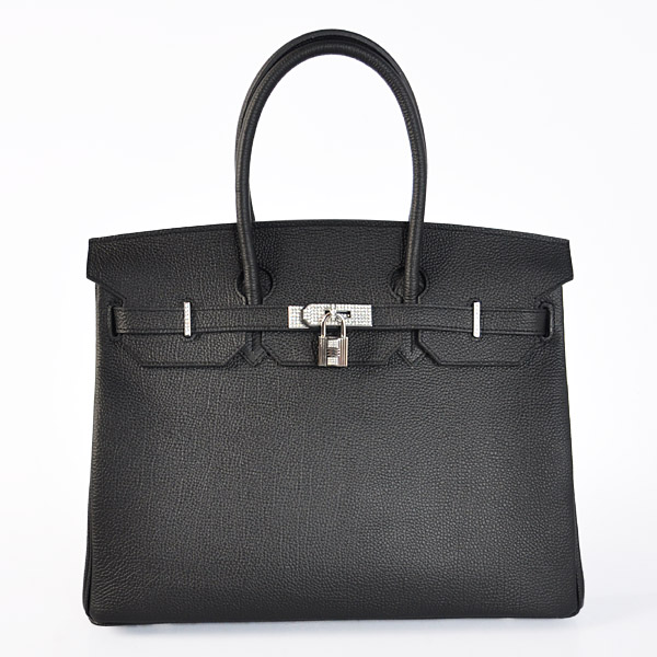 H35BJBSD Hermes Birkin 35CM togo leather in Black with Silver hardware with diamond