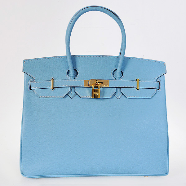 H35PLBG Hermes Birkin 35CM Palm stripes leather in light blue with gold hardware