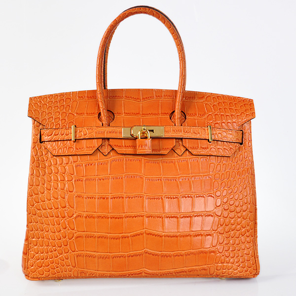 H35CSOG Hermes Birkin 35CM Crocodile stripes leather in Orange with Gold hardware