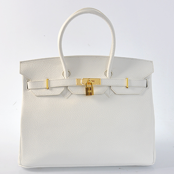 H35LPWG Hermes Birkin 35CM clemence leather in Pure white with Gold hardware