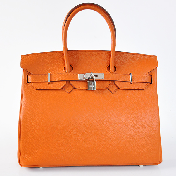 H35LSOS Hermes Birkin 35CM clemence leather in Orange with Silver hardware