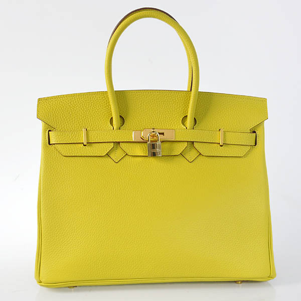 H35LLYG Hermes Birkin 35CM clemence leather in Lemon Yellow with Gold hardware