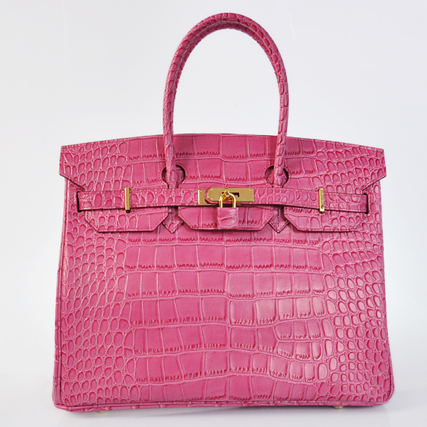 H35CSPS Hermes Birkin 35CM Crocodile stripes leather in Peach with Silver hardware
